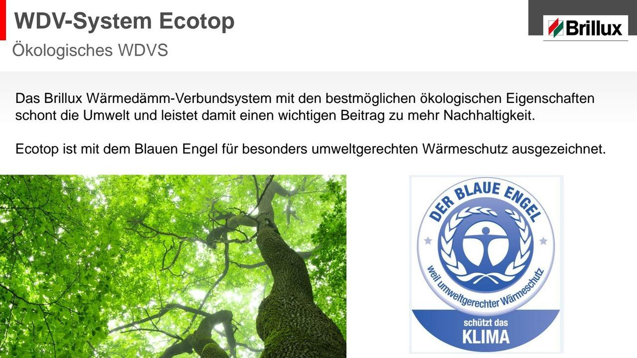 WDV-System aus natürlichen Rohstoffen - ausgezeichnet mit dem Blauen Engel für umweltgerechten Wärmeschutz.