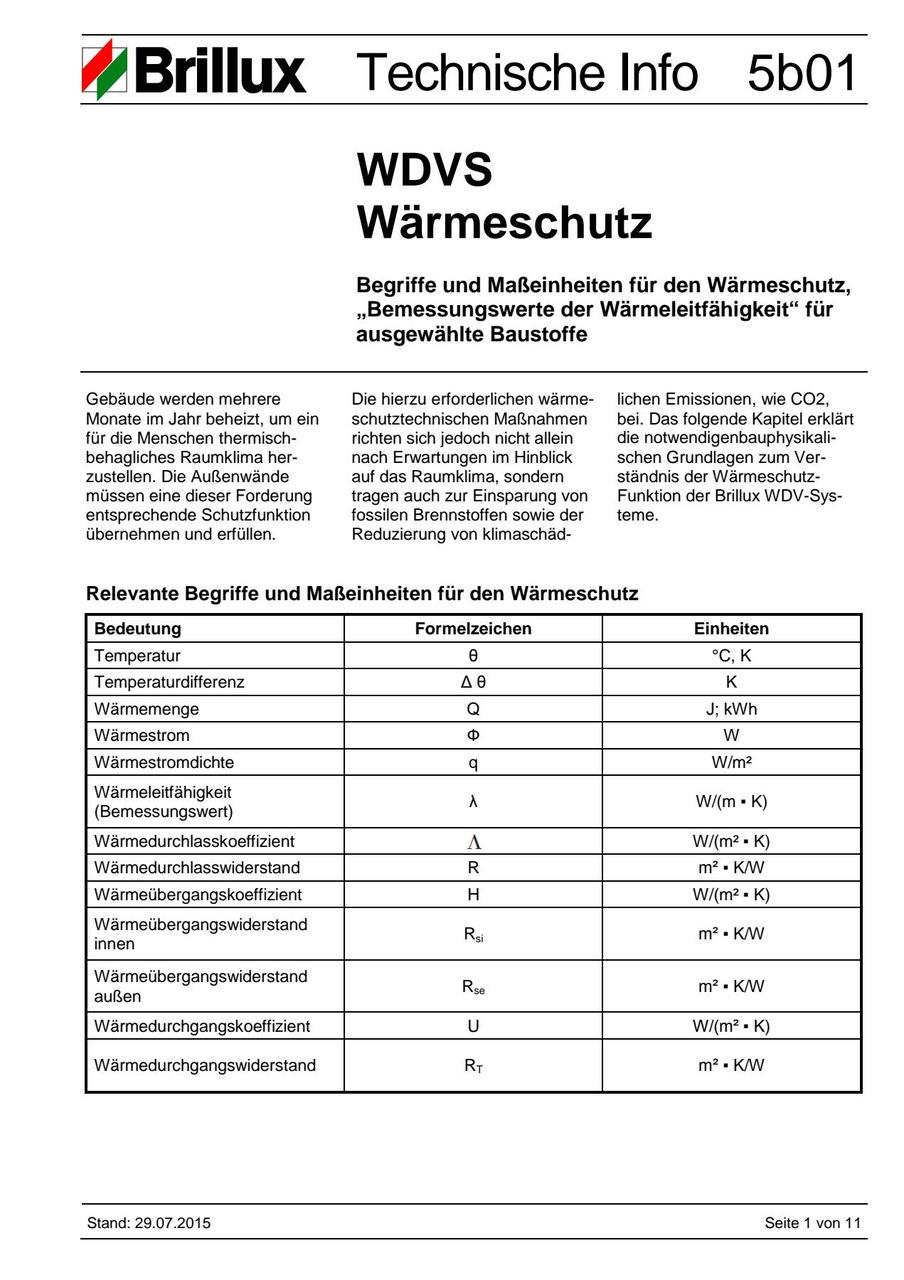 Begriffe und Maßeinheiten für den WDVS Wärmeschutz