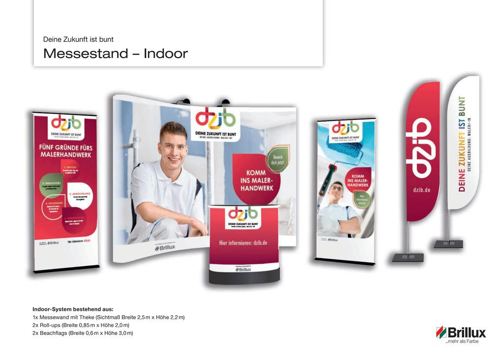 Nutzen Sie den DZib-Messestand Maler Indoor für Ausbildungs- und Lehrlingsmessen.
