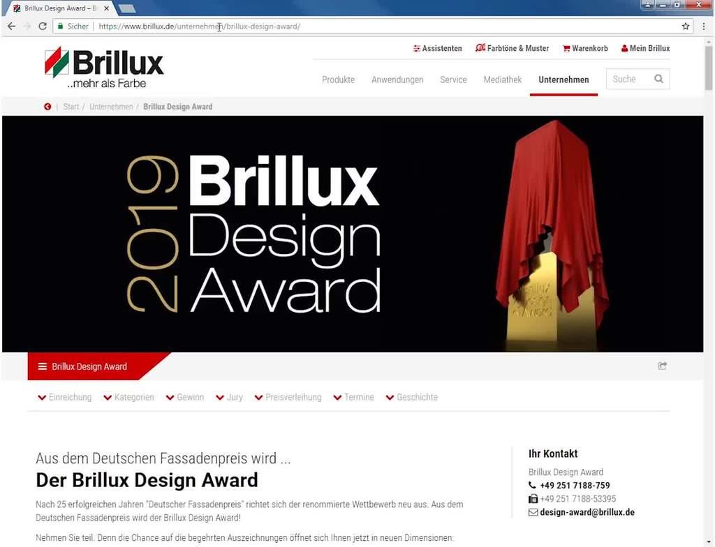 Informationen zur Einreichung Brillux Design Award 2019