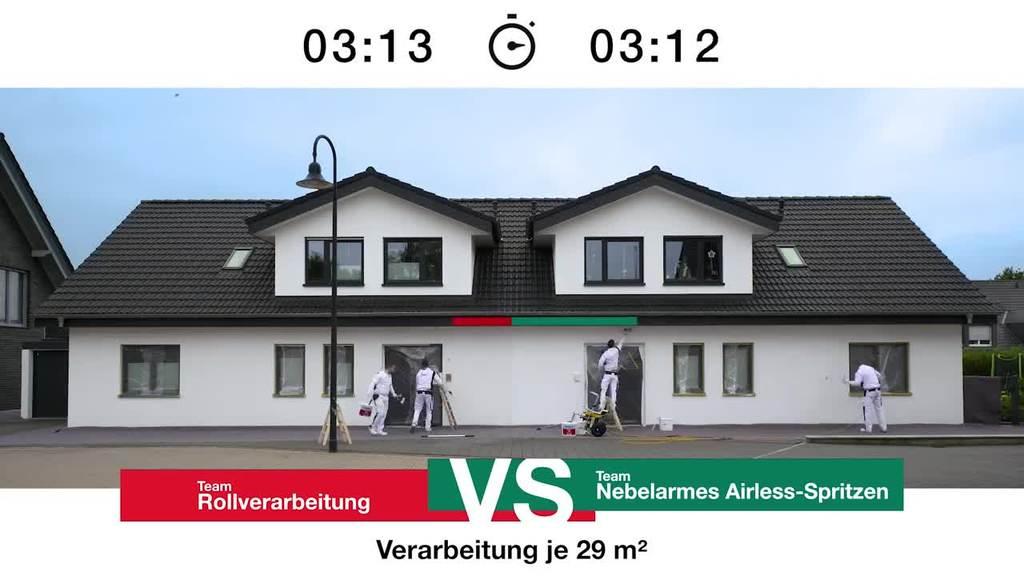 Wenn eine Fassade gestrichen werden muss, wer ist dann eigentlich schneller: der Maler mit der Rolle oder der mit dem Airless-Spritzgerät? Erfahren Sie mehr im Video!