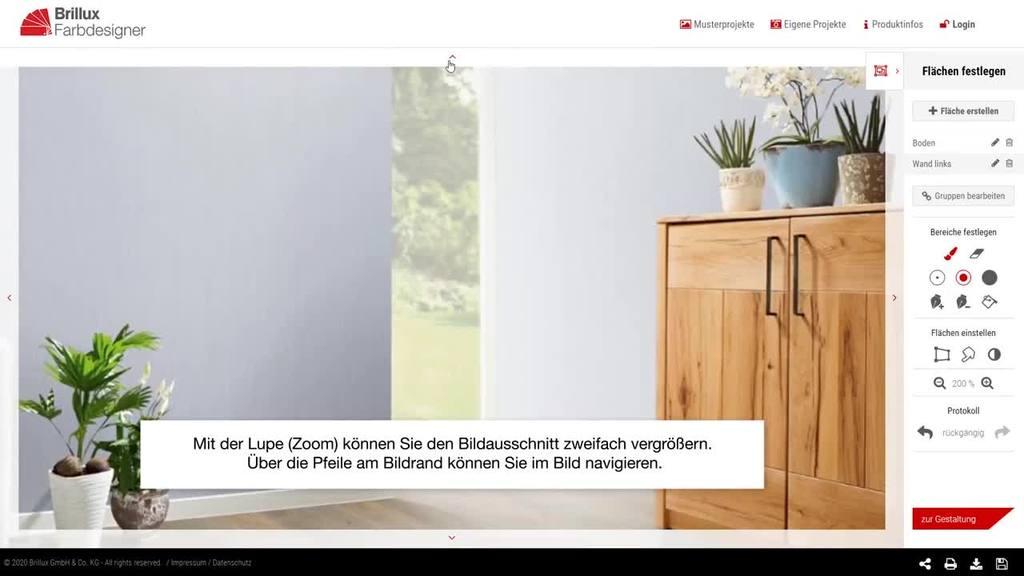 Anleitungsvideo für die Gestaltung eigener Innenraum-Fotos im Brillux Farbdesigner