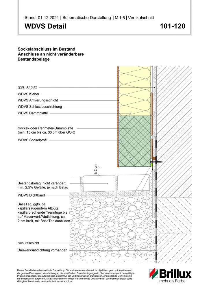 Sockelabschluss Anschluss an nicht veränderte Bestandsbeläge (Bestand)