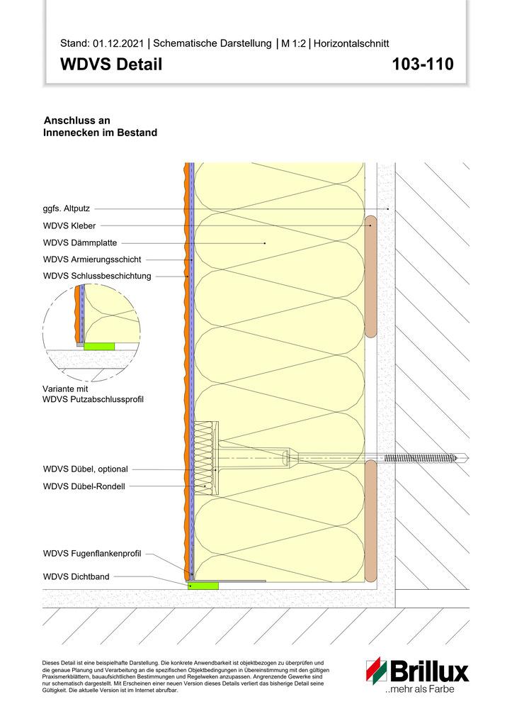 Vertikaler Systemabschluss an Gebäude-Innenecken mit Sockelprofil (Bestand)