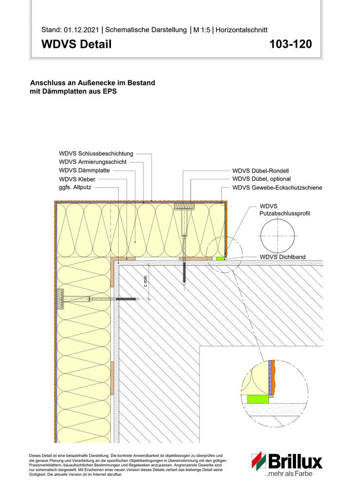 Vertikaler Systemabschluss an Gebäude-Innenecken mit Sockelabschlussprofil (Bestand)