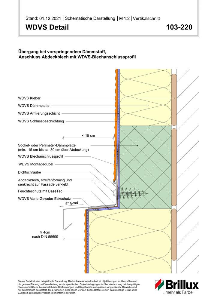 Vertikaler Systemabschluss an Gebäude- Aussenecken mit Putzabschlussprofil (Abschluss traufseitig, Bestand)