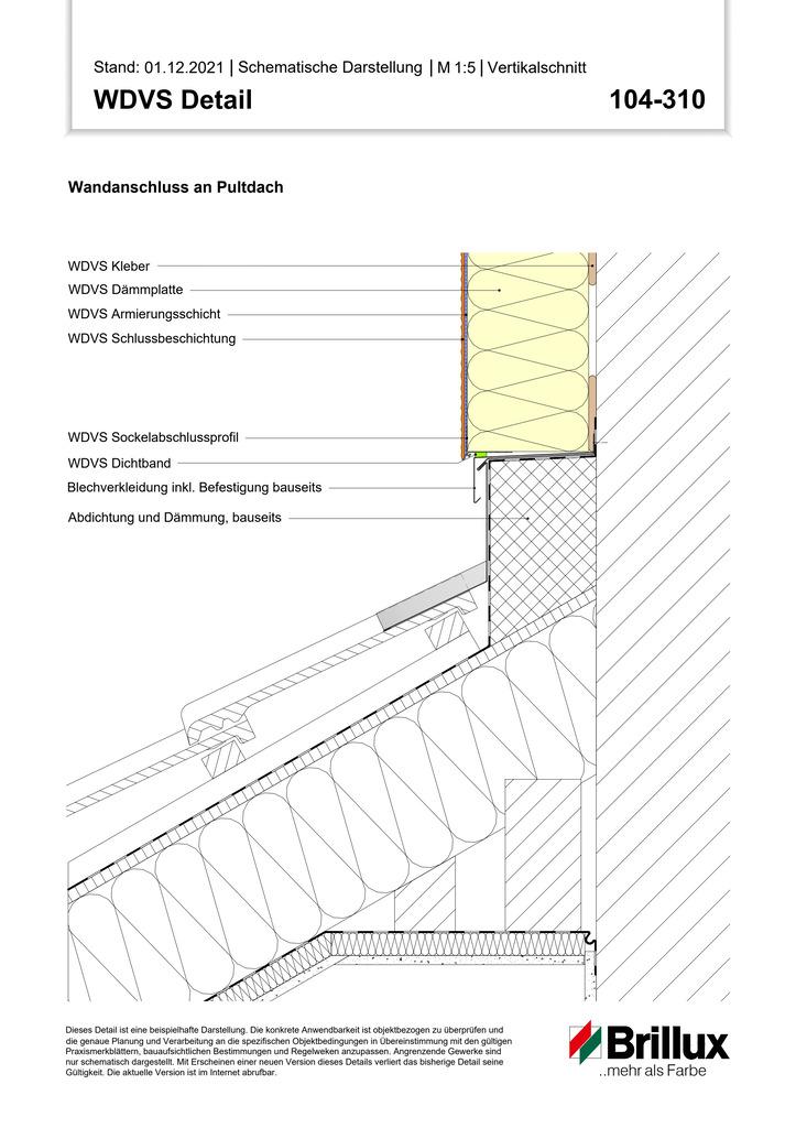 Unterer Systemanschluss an geneigtes Dach mit bauseitiger Blechverwahrung - Sockelabschlussprofil -