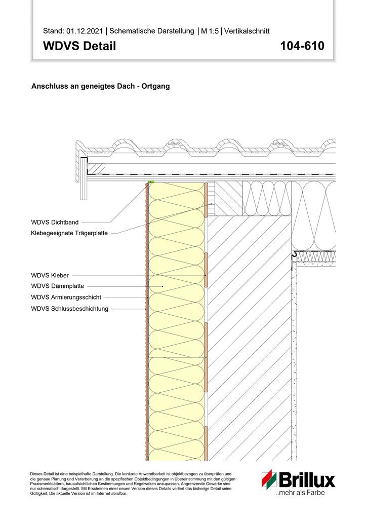 Oberer Systemanschluss an geneigtes Dach mit sichtbaren Dachbalken