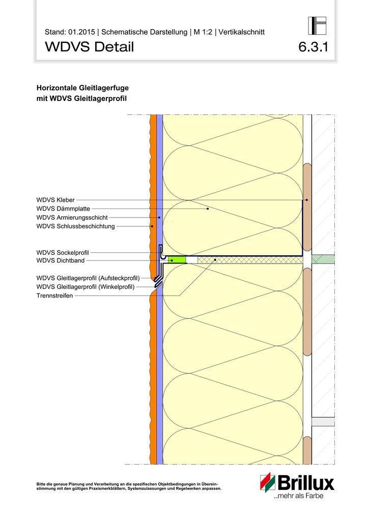Horizontale Gleitlagerfuge mit WDVS Gleitlagerprofil
