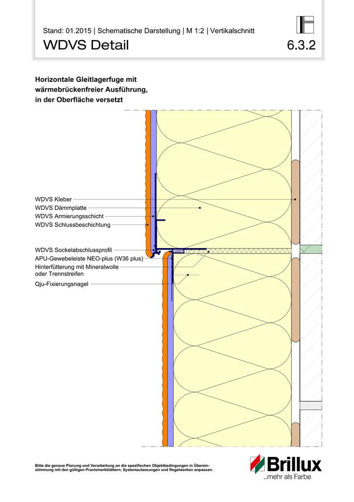 Horizontale Gleitlagerfuge mit wärmebrückenfreier Ausführung, in der Oberfläche versetzt