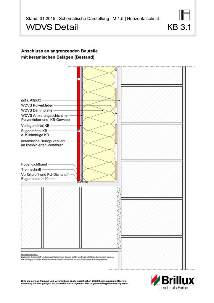 Anschluss an angrenzende Bauteile mit keramischen Belägen (Bestand)