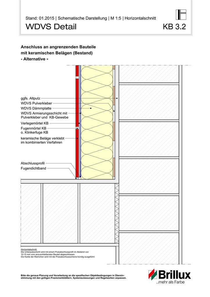Anschluss an angrenzenden Bauteile mit keramischen Belägen (Bestand) - Alternative -