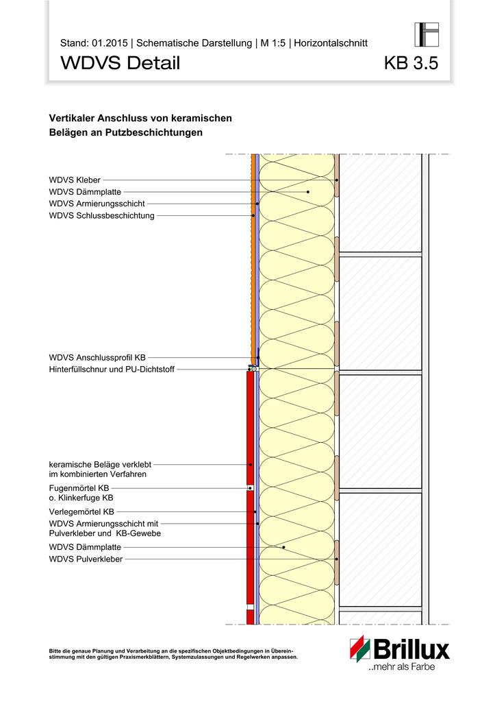 Vertikaler Anschluss von keramischen Belägen an Putzbeschichtungen