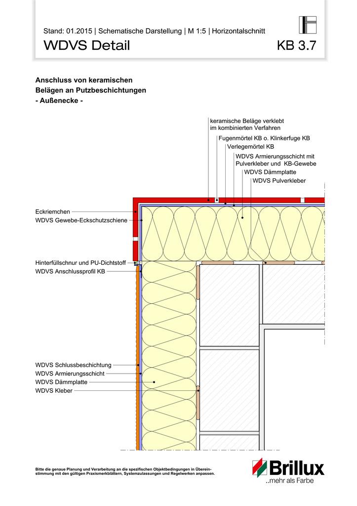 Anschluss von keramischen Belägen an Putzbeschichtungen - Außenecke -