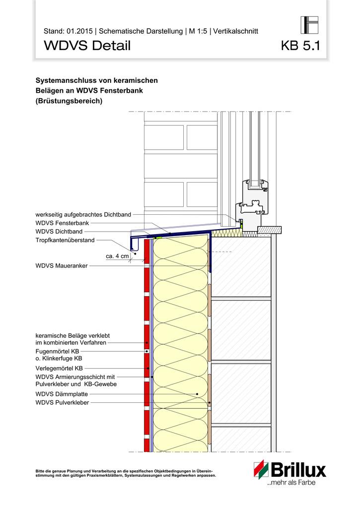 Systemanschluss von keramischen Belägen an WDVS Fensterbank (Brüstungsbereich)