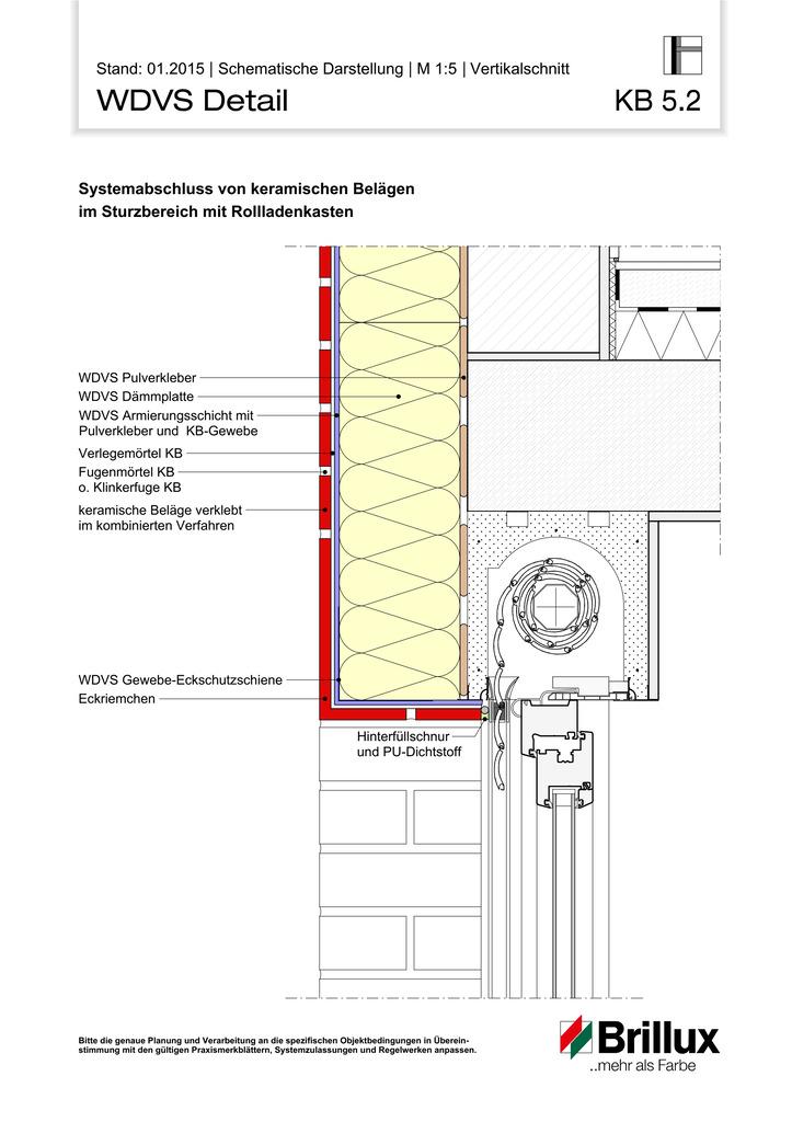 Systemabschluss von keramischen Belägen im Sturzbereich mit Rollladenkasten