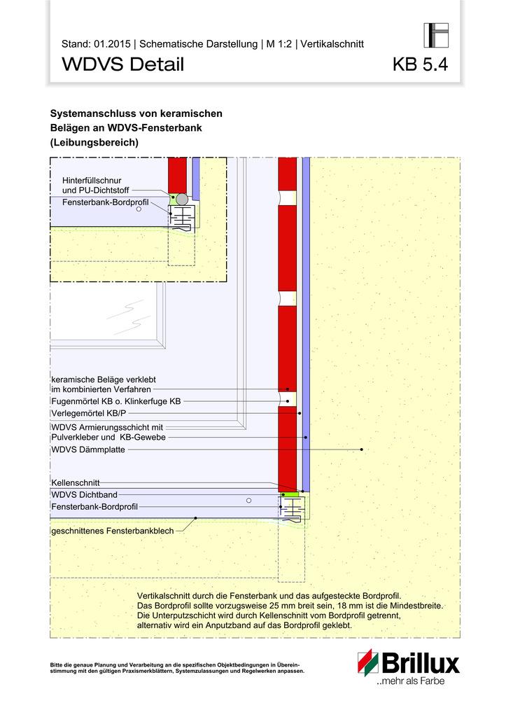 Systemanschluss von keramischen Belägen an WDVS-Fensterbank (Laibungsbereich)