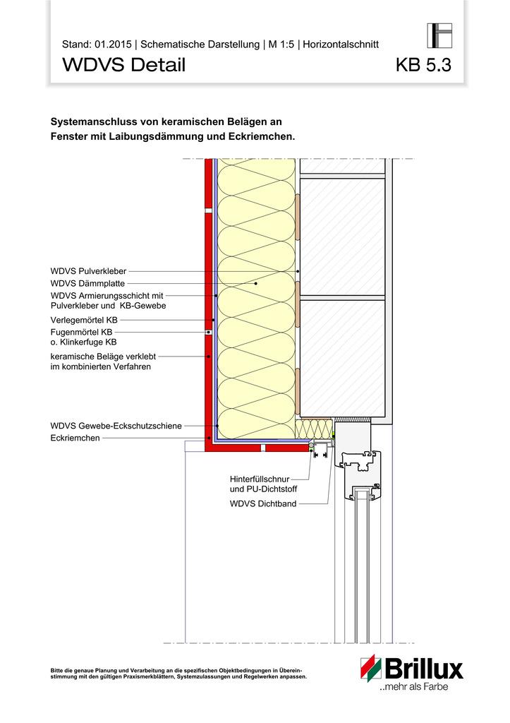 Systemanschluss von keramischen Belägen an Fenster mit Laibungsdämmung und Eckriemchen.