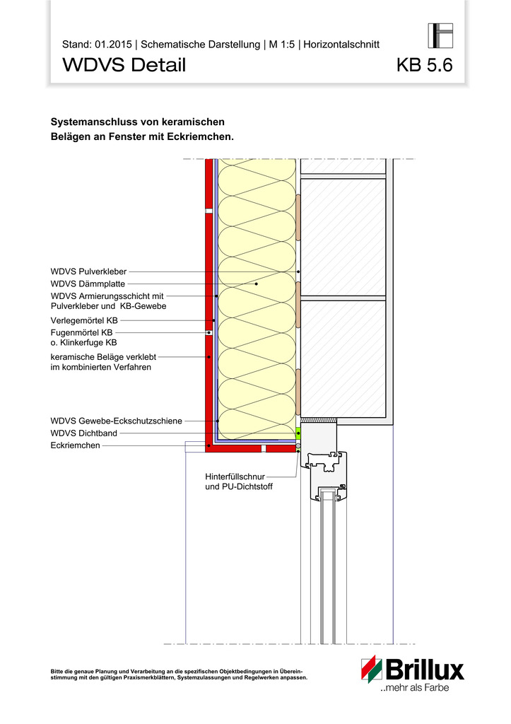 Systemanschluss von keramischen Belägen an Fenster mit Eckriemchen.