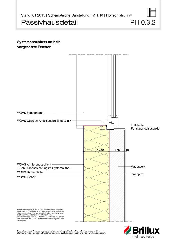 Systemanschluss an halb vorgesetzte Fenster.