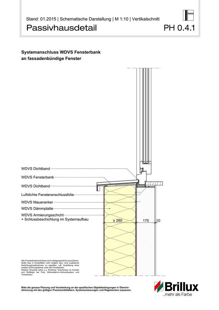 Systemanschluss WDVS Fensterbank an fassadenbündige Fenster.