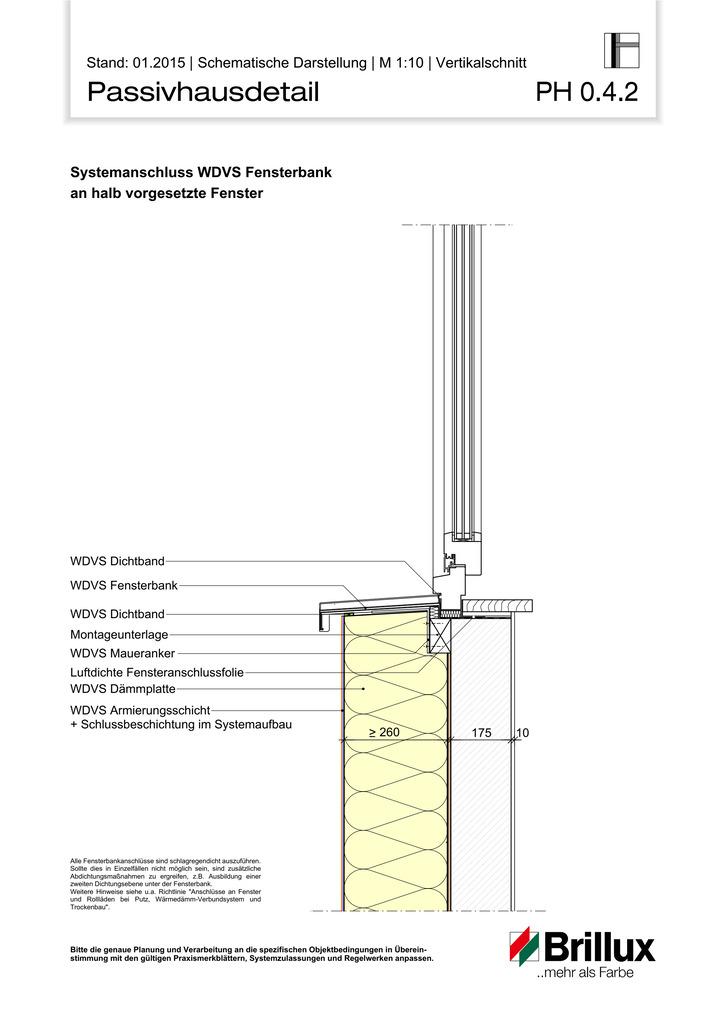 Systemanschluss WDVS Fensterbank an halb vorgesetzte Fenster.