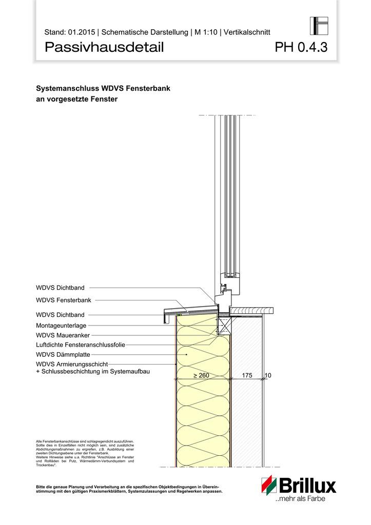 Systemanschluss WDVS Fensterbank an vorgesetzte Fenster.