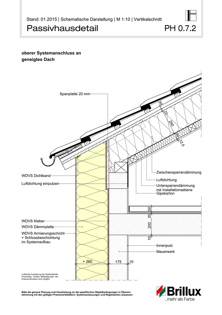Oberer Systemanschluss an geneigtes Dach.