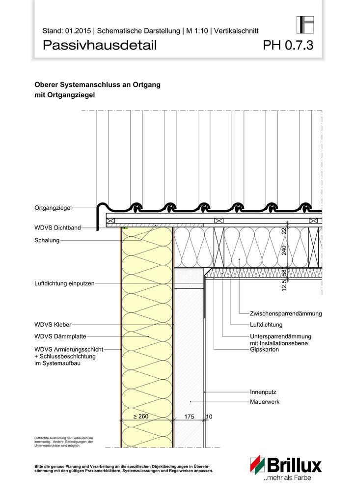 Oberer Systemanschluss an Ortgang mit Ortgangziegel.