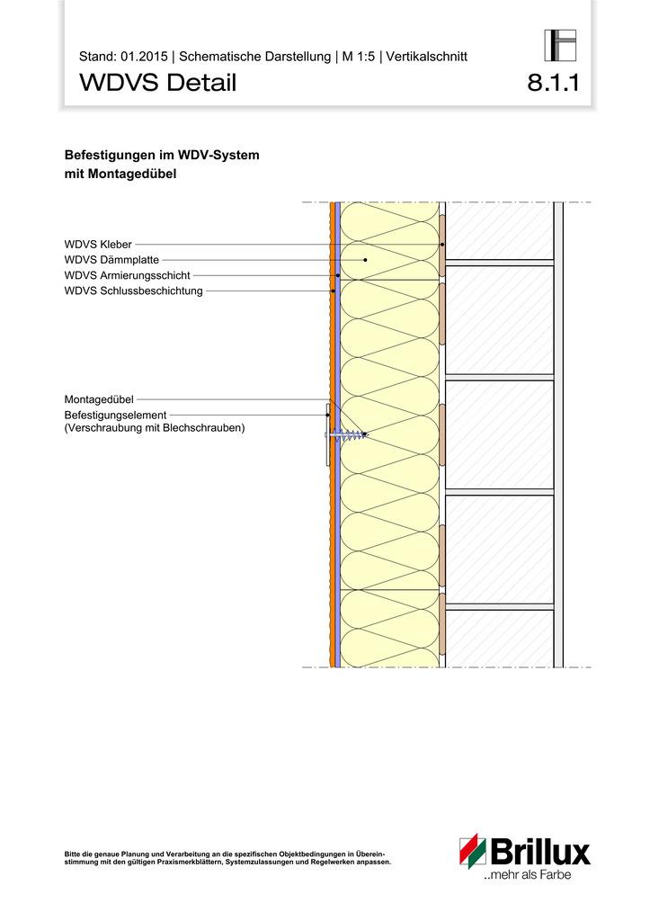 Befestigung in WDV-Systemen mit Montagedübel