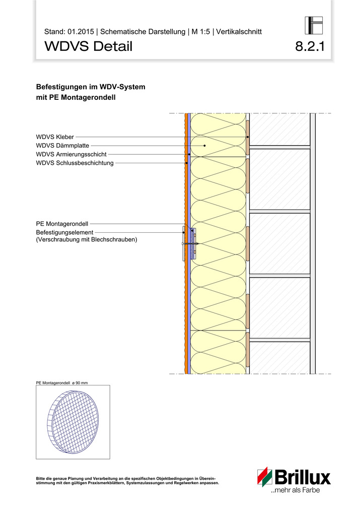 Befestigungen im WDV-System mit PE Montagerondell