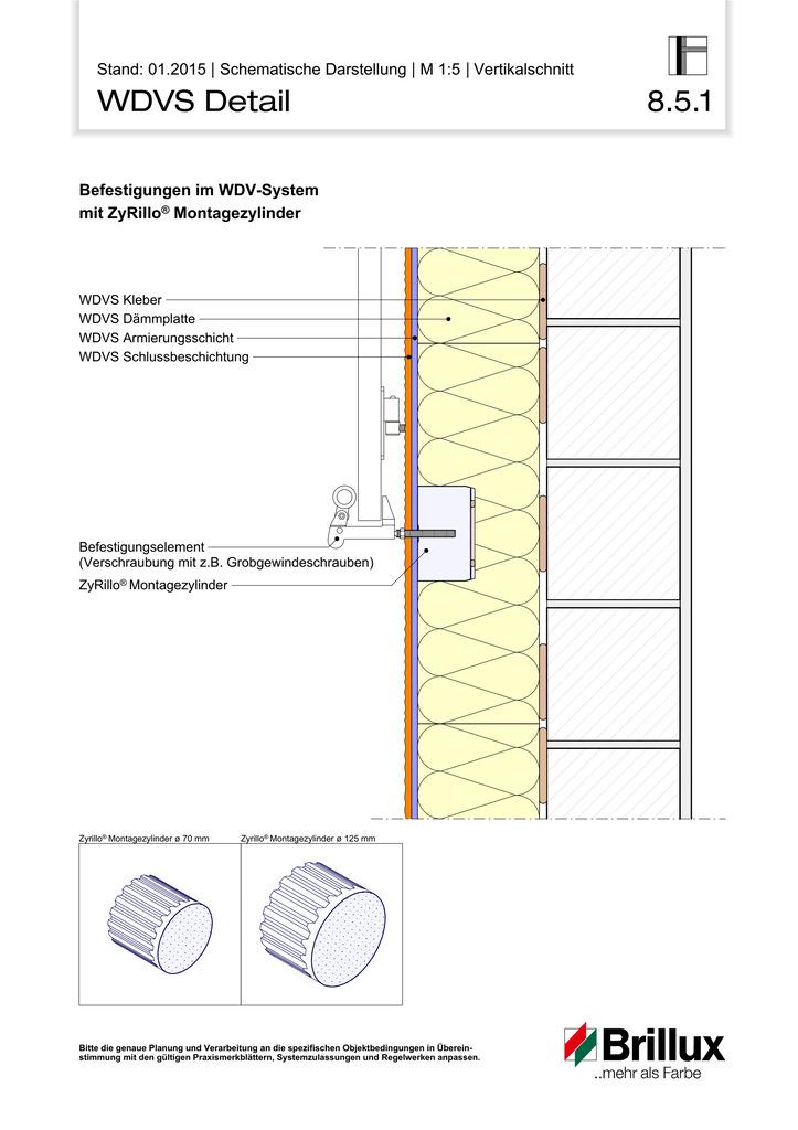 Befestigungen im WDV-System mit ZyRillo® Montagezylinder