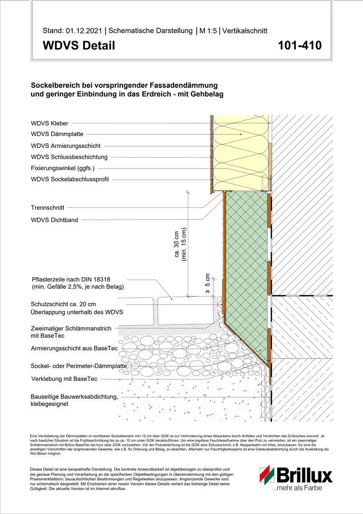 Sockelbereich bei vorspringender Fassadendämmung und geringer Einbindung in das Erdreich – mit Gehbelag