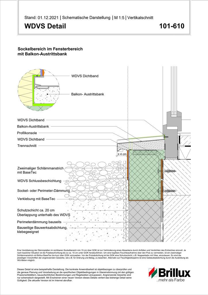 Sockelbereich im Fensterbereich mit Balkon-Austrittsbank