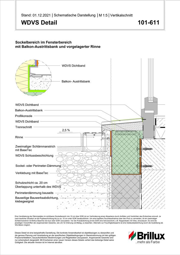 Sockelbereich im Fensterbereich mit Balkon-Austrittsbank und vorgelagerter Rinne