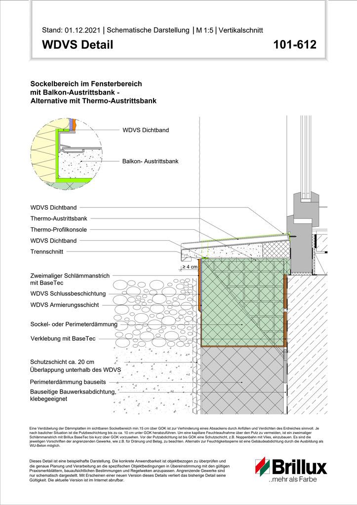 Sockelbereich im Fensterbereich mit Balkon-Austrittsbank - Alternative mit Thermo-Austrittsbank