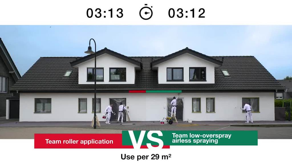 Who's faster coating a facade: the professional using the traditional paint roller or the one counting on his airless spray system? Find out here!