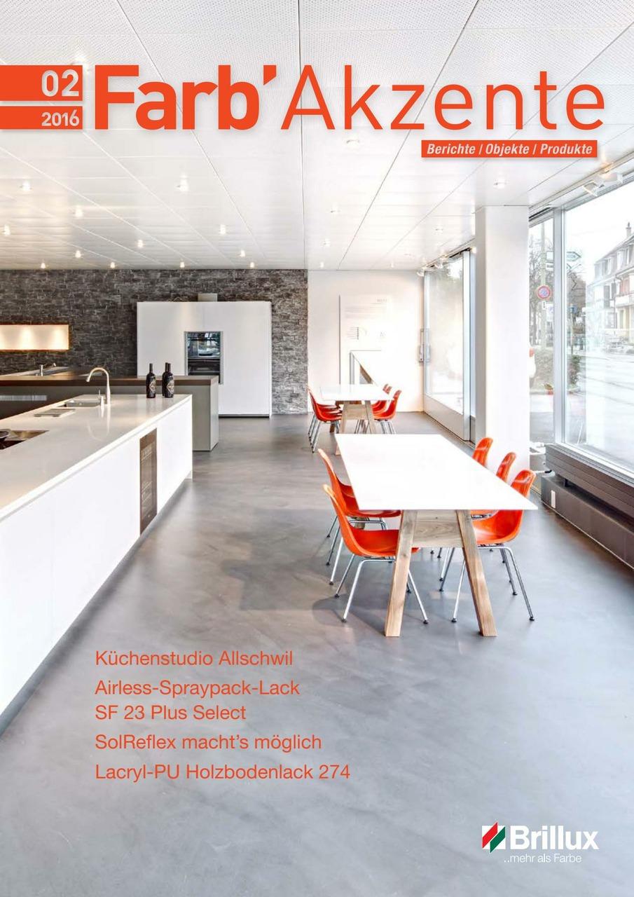 Schweizer Kundenmagazin für Handwerker und Planer. In der Ausgabe 02/2016 zeigt sich die Vereinbarkeit von eleganten Küchenmöbeln und Einrichtungen mit Brillux Floortec 2K-Mineralico SL 470. D as Küchenstudio decuspena im schweizerischen Allschwil zeigt tolle Eindrücke und Möglichkeiten, die puristische Gestaltung mit dieser Spachtelmasse auch im privaten Wohnraum zu integrieren. Neben den Produktinformationen zum Airless-Spraypack-Lack SF 23 Plus Select und dem neuen Lacryl-PU Holzbodenlack 274 demonstriert die Ausgabe die Möglichkeit, intensive, dunkle Farbtöne auf einem WDVS zu reali sieren.