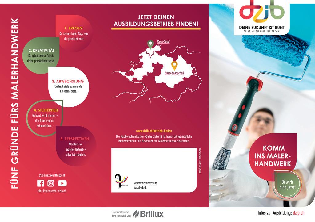Flyer zur Nachwuchswerbung von Betrieben auf Bildungsmessen oder Jobbörsen. Der Flyer informiert über den Beruf Maler/in EFZ und zeigt auf wie sich potentielle Bewerber auf der Kampagnenwebsite informieren können.