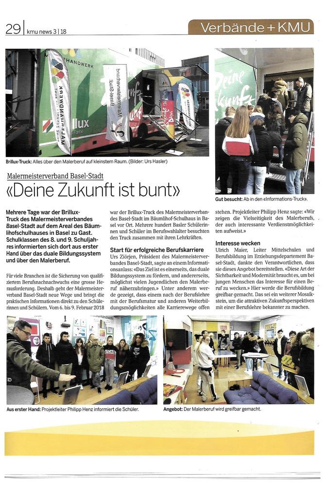 Der Brillux-Truck war zwei Tage in Basel zu Gast um Schüler der 8. und 9. Klasse über den Malerberuf zu informieren.