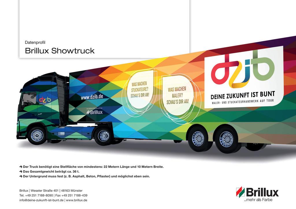 Die technischen Daten des Show-Truck kompakt zusammen gefasst, sodass der potentielle Standort geprüft werden kann.