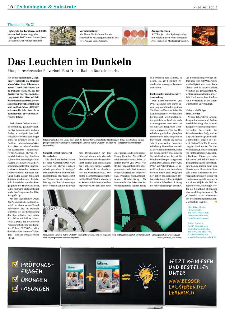 """Mit dem sogenannten """"Night Bike"""" etablierte die Berliner Manufaktur 8bar bikes einen neuen Trend: Fahrräder, die im Dunkeln leuchten. Bei der Realisierung der Speziallackierung setzte 8bar bikes auf Brillux Industrielack: Dank der besonderen Pulverbeschichtung mit Lumifekt-Pulver PE 5989 erhalten die Fahrräder ihren auffallenden hosphoreszierenden Effekt."""