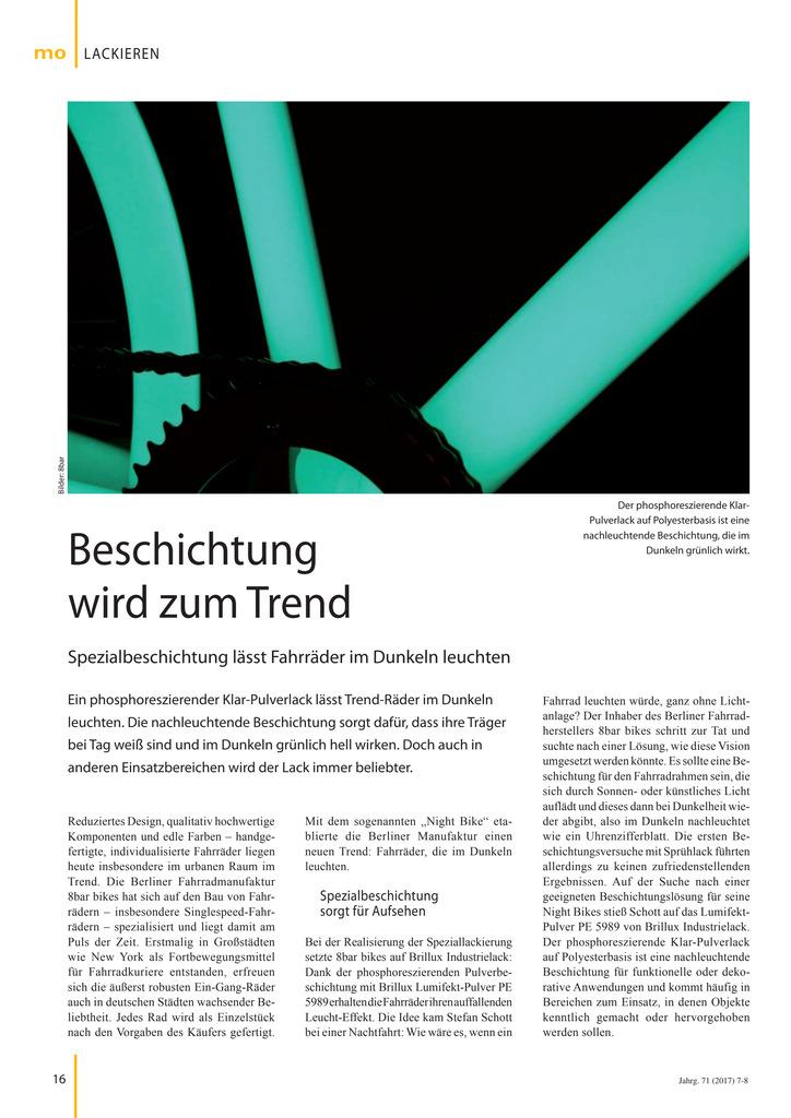 In diesem Bericht wird der Einsatz von Lumifekt-Pulver PE 5989 beim Fahrradhersteller 8bar Bikes aus Berlin vorgestellt. Quelle: mo