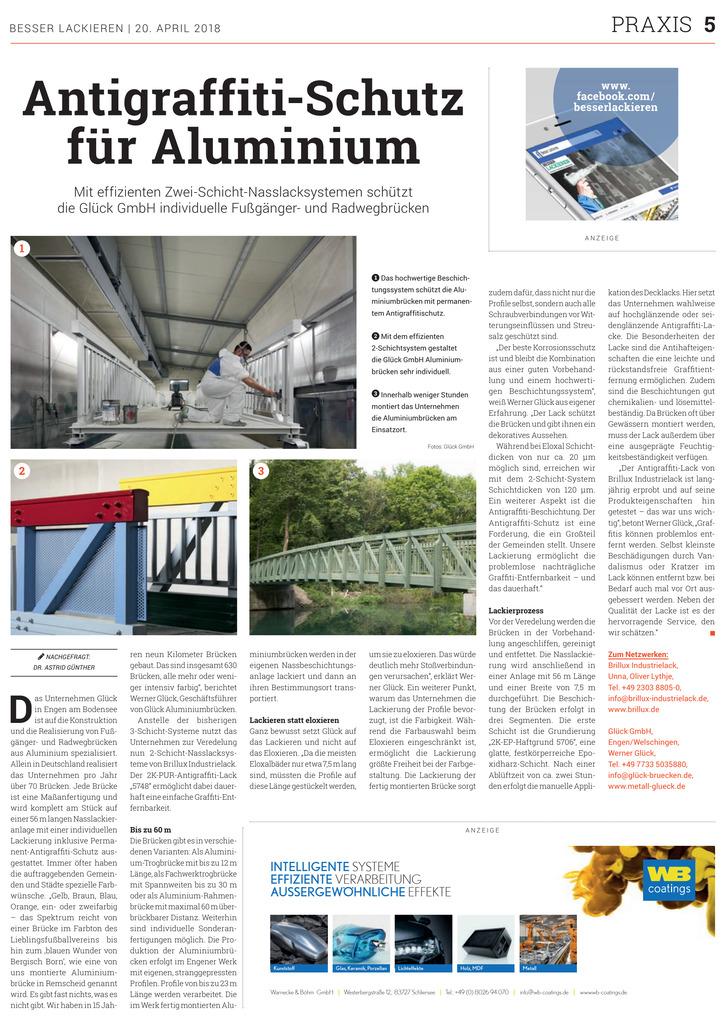 Ein effizientes Zwei-Schicht-System schützt z. B. Aluminiumbrücken vor Graffitis.