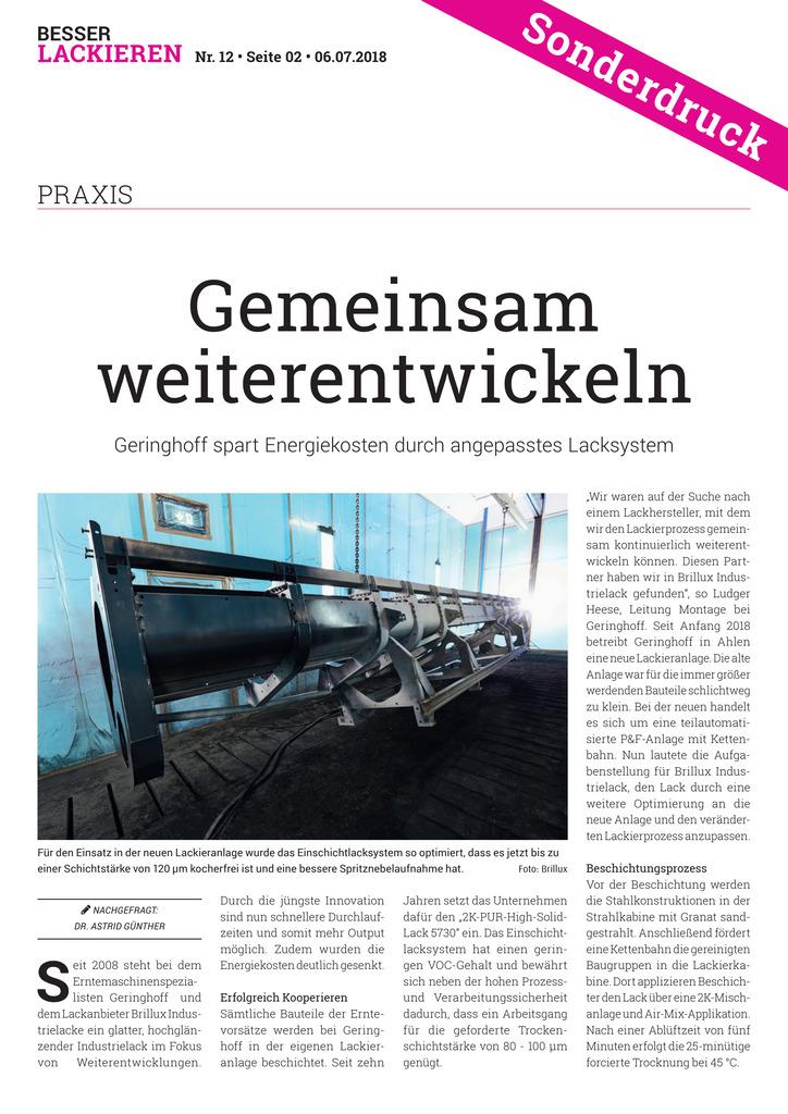 Geringhoff spart Energiekosten durch angepasstes Lacksystem.