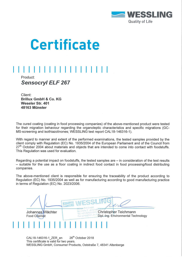 Sensocryl ELF 267 | Certificate contact with foodstuffs